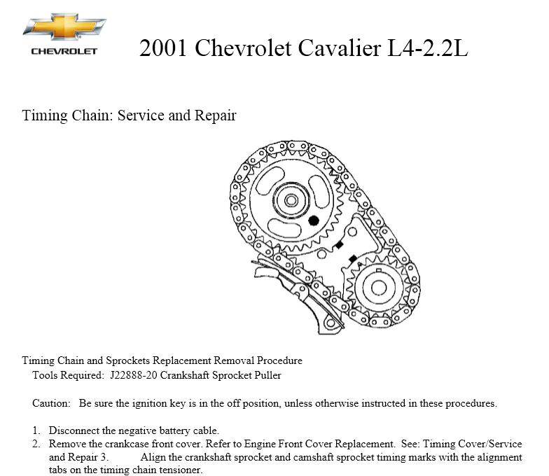 Chevrolet Cavalier L4-2.2L 2001