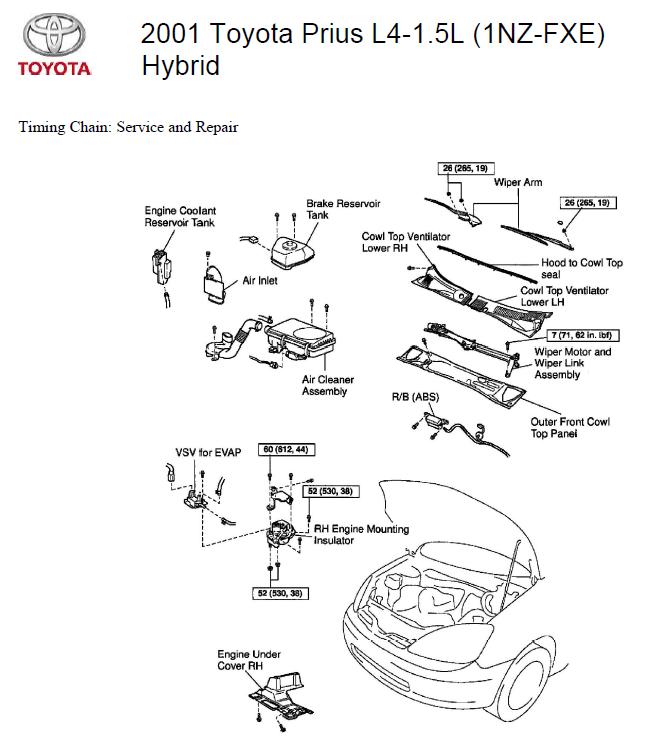 2001 Toyota Prius L4-1.5L (1NZ-FXE) Hybrid