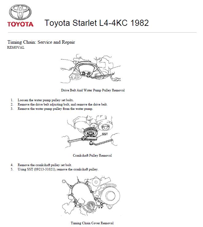 Toyota Starlet L4-4KC 1982